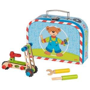 Βαλιτσάκι - Σετ ξύλινων κατασκευών «Οχήματα» Goki 58737