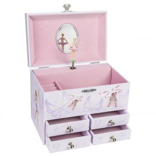 Μουσικό κουτί-μπιζουτιέρα με συρτάρια Ballerina Goki 15559