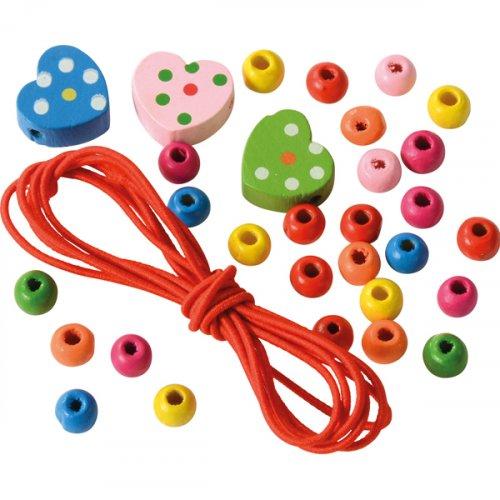 Mini Ξύλινο σετ με χάντρες Hearts Eduplay 130267 H