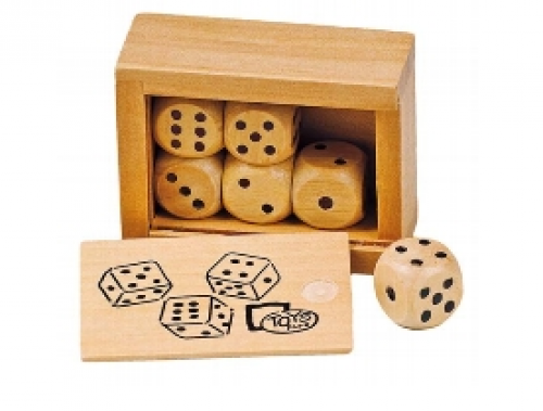 6 Ξύλινα Ζάρια σε Κουτί Goki HS239