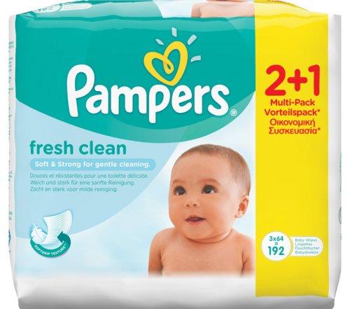 Pampers Μωρομάντηλα Natural Clean Χωρίς Αρωμ 2+1 Δώρο
